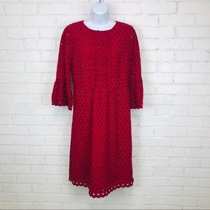 Boden Red Eyelet Sheath Dress sz 6L